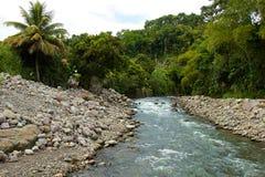 Tyst ström i lantliga Doninica som är karibisk Fotografering för Bildbyråer