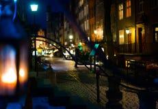 Tysta Amber Street i Gdansk Arkivfoto
