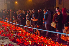 Tysta marschen i minne av offer från den Colectiv klubban Royaltyfri Fotografi