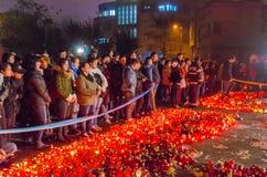 Tysta marschen i minne av offer från den Colectiv klubban Fotografering för Bildbyråer