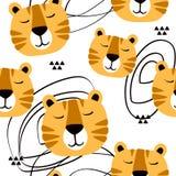 Tysta ned av tigrar, dekorativ gullig bakgrund Den f?rgrika s?ml?sa modellen med tystar ned av djur vektor illustrationer