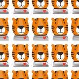 Tysta ned av tigrar, sömlös modell royaltyfri illustrationer