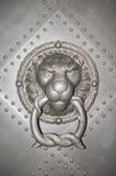 Tystar ned den gammalt järn skodde dörren med ett lejon, den Dresden slotten, Tyskland Royaltyfri Bild