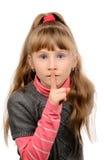 Tystnad för liten flickavisningtecken fotografering för bildbyråer