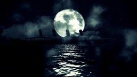 Tytaniczny statku żeglowanie w morzu na księżyc w pełni nocy