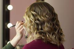 Tytułowania piękna makeup włosiany spojrzenie fotografia royalty free
