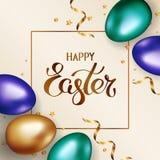 Tytułowa Szczęśliwa wielkanoc w ramie Złociści i kolorowi Easter jajka na lekkim tle z 2007 pozdrowienia karty szczęśliwych noweg ilustracja wektor