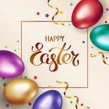 Tytu?owa Szcz??liwa wielkanoc w ramie Złociści i kolorowi Easter jajka na lekkim tle z royalty ilustracja