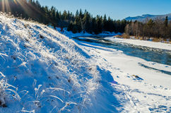 Tyulyuk River in the Ural Mountains in winter Stock Images