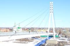 Tyumen Brücke von Liebhabern Es ist nur für Fußgänger stockfotografie