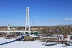 Tyumen Brücke von Liebhabern Sibirien, Russland lizenzfreie stockbilder