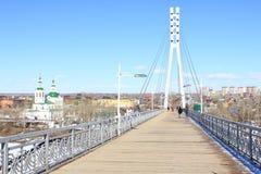 Tyumen Brücke von Liebhabern Sibirien, Russland stockfotografie