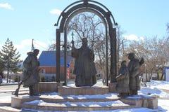 Tyumen Monument till storstads- Filofey Leshchinskiy Ryss Sibirien Arkivfoton