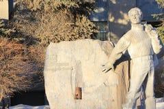 Tyumen Monument zu Yuri Hervieu Russe Sibirien lizenzfreie stockbilder