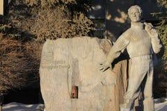 Tyumen Monument zu Yuri Hervieu Russe Sibirien stockbild