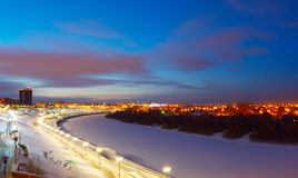 Tyumen. Panorama of winter embankment Royalty Free Stock Photography