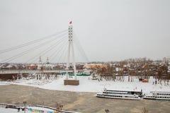 Tyumen Rosja, Listopad, - 05 2016: Zima krajobraz z zamarzniętym Obrazy Royalty Free
