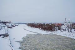 Tyumen Rosja, Listopad, - 05 2016: Zima krajobraz z zamarzniętym Obraz Royalty Free