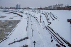 Tyumen Rosja, Listopad, - 05 2016: Zima krajobraz z zamarzniętym Zdjęcia Royalty Free