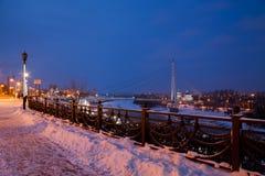 Tyumen Rosja, Listopad, - 05 2016: Zimy nocy krajobraz z a Zdjęcia Royalty Free