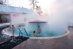 TYUMEN, ROSJA, Styczeń 31 2016: Pływacki basen z termiczną wodą Zdjęcie Stock