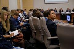 Tyumen, Rusland, 10 11 2018 Forum van innovatieve technologie?n Communicatie wetenschappers, politici en zakenlieden stock fotografie
