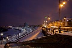 Tyumen, Rusland - November 05 2016: Het landschap van de de winternacht van Royalty-vrije Stock Fotografie