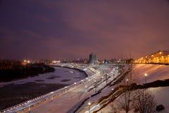 Tyumen, Rusland - November 05 2016: Het landschap van de de winternacht van Royalty-vrije Stock Afbeelding