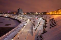 Tyumen, Rusland - November 05 2016: Het landschap van de de winternacht van Royalty-vrije Stock Afbeeldingen