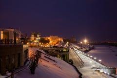Tyumen, Rusland - November 05 2016: Het landschap van de de winternacht van Stock Fotografie