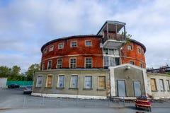 TYUMEN, RUSLAND - SEPTEMBER 9, 2016: De ronde bouw van stadsbad, Tyumen, Rusland royalty-vrije stock foto's