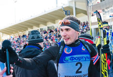 Tyumen, RUSSIA - APR 9, 2014: Anton Shipulin (RUS) after finish Stock Photography