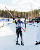Tyumen, RUSSIA - APR 9, 2014: Martin Fourcade (FRA) after finish Royalty Free Stock Photo
