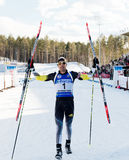 Tyumen, RUSSIA - APR 9, 2014: Martin Fourcade (FRA) after finish Stock Image