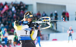 Tyumen, RUSSIA - APR 9, 2014: Simon Fourcade (FRA) ) on a firing Stock Photos