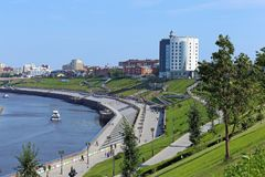 Beautiful Bank of the river and modern architecture in the city royalty free stock photo
