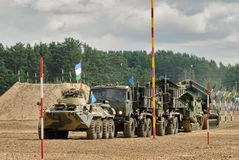 Army Games-2017. Safe Route contest. Tyumen.Russia. Tyumen, Russia - August 6, 2017: International Army Games. Safe Route contest. Motion of military convoy Stock Photo
