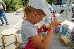 Open Day of Sberbank for children. Artists. Tyumen royalty free stock photo
