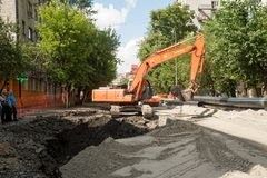 Construction Work on Road. Tyumen. Russia royalty free stock photography