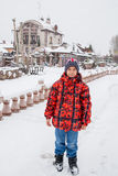 Tyumen, Russia-Boy on the background of the co Stock Images