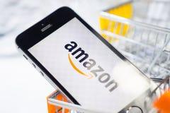 Tyumen, Russia - february 12, 2019: online shopping Amazon company logo online store stock photo