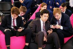 Tyumen, Russia, 10.11.2018. Forum of innovative technologies. Communication scientists, politicians and businessmen. Pupils and. Students also participated in stock photo
