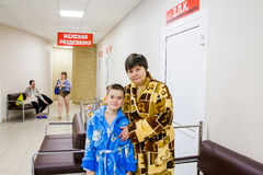 Tyumen, Russia -  Grandmother with the grandson Royalty Free Stock Image