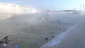 TYUMEN, RUSSIA, January 31.2016, People bathe in hot springs stock footage
