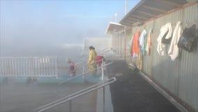 TYUMEN, RUSSIA, January 31.2016, People bathe in hot springs stock video footage