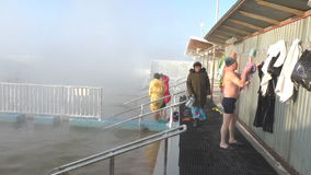 TYUMEN, RUSSIA, January 31.2016, People bathe in hot springs stock video