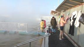 TYUMEN, RUSSIA, January 31.2016, People bathe in hot springs stock video