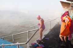 TYUMEN, RUSSIA, January 31.2016, People bathe in hot springs Royalty Free Stock Photo