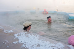 TYUMEN, RUSSIA, January 31.2016: People bathe in hot springs Stock Images