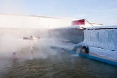 TYUMEN, RUSSIA, January 31.2016: People bathe in hot springs Stock Photos